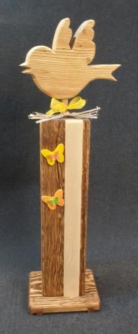 Holz Deko Stele mit Vogel Aufsatz