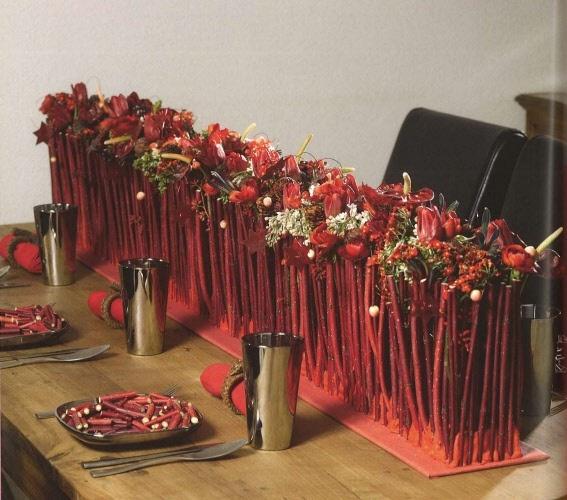 ...centro de mesa en rojo