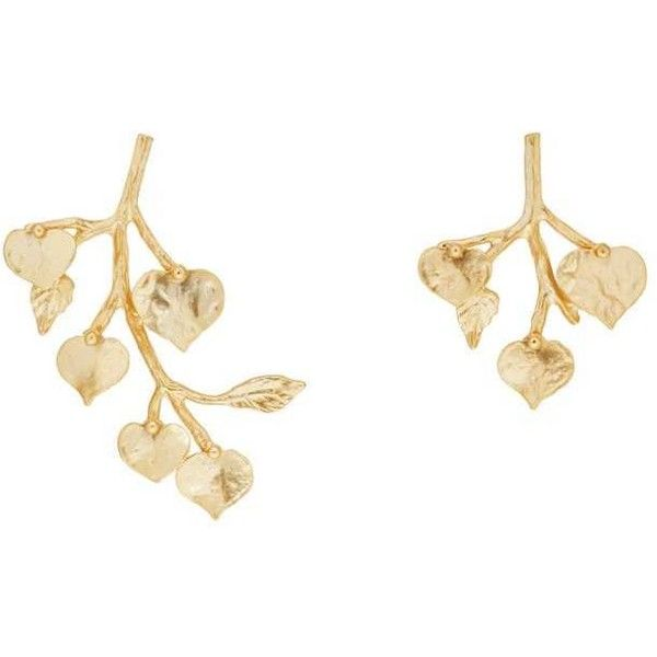 Kenneth Jay Lane Women's Branch & Leaves Mismatched Drop Earrings found on Polyvore featuring jewelry, earrings, gold, kenneth jay lane, leaf earrings, drop earrings, post back earrings and post earrings