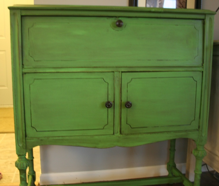 I Used Annie Sloan Chalk Paint In Antibes Green And Then Some Watered Down  Dark Walnut