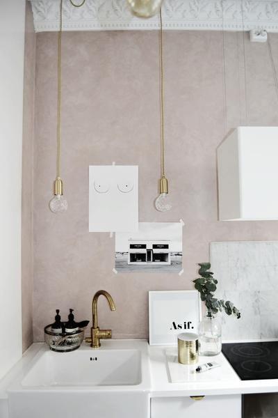 Beautiful Scandinavian Pink Kitchen, Art Prints by The Printable Cøncept. Styled by Ema Bihor