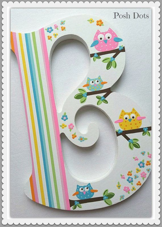 Custom Painted Wooden Nursery Initial by PoshDots on Etsy