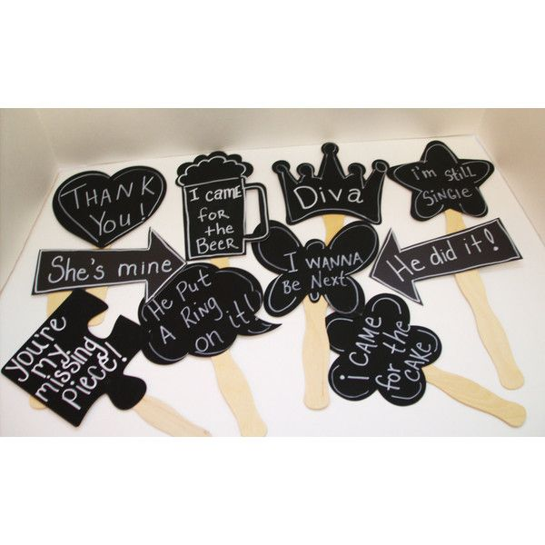 10 Chalkboard Photo booth Props. Great idea for a Pinterest Party