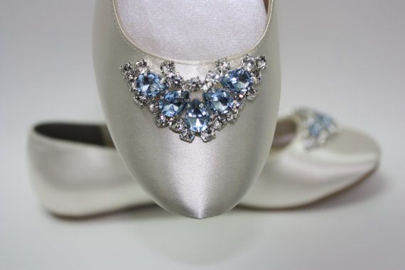 Wedding Shoes - Ballet Flats - Wedding Flats - Blue Crystals - Something Blue Shoes - Wedding Shoes By Parisxox - Choose From 100 Colors on Etsy, $175.52 CAD