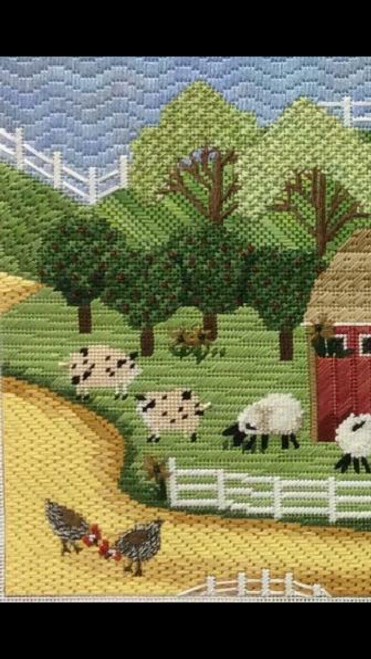 needlepoint farmyard, designer unknown