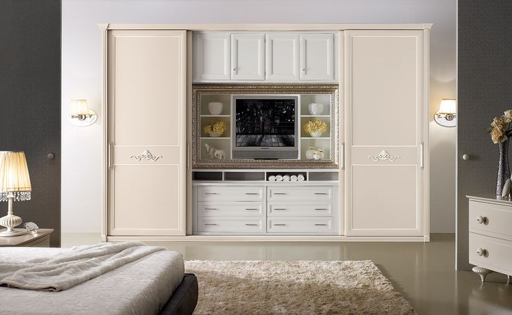 Composition M209 Sliding door mod. RIGOLETTO with carvings and smoothly square frame with a dove-color lacquer finish and a white frame. Central module: drawers/bookshelf with a square silver frame