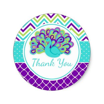 Peacock Green and Purple Baby Shower Thank You Classic Round Sticker - baby shower gifts  party giftidea