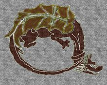 Symbol of the Order of the Dragon - with the flayed cross on the back of an orobouros type dragon
