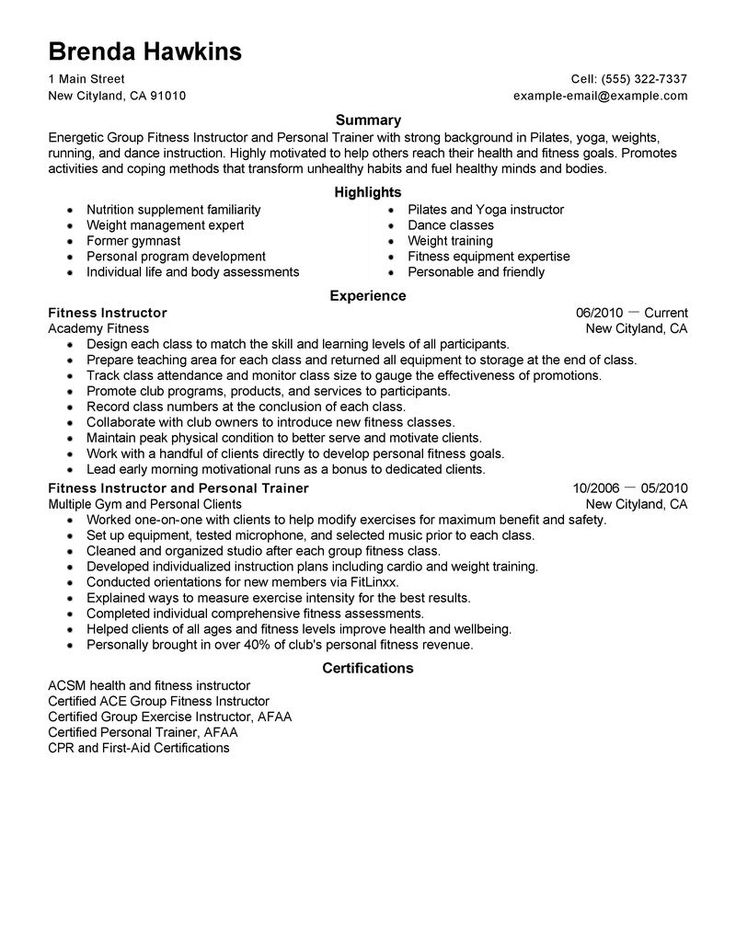 best fitness and personal trainer resume example livecareer tips - fitness instructor resume