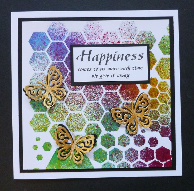 'Happiness Hexagons' card -  Imagination Craft's - Magi-bond glue.  Mixed Hexagons Art Stencil no. MA-48.  Rich gold Starlight paint.  Mixed Media Spray Inks - Yellow, Sunshine, Lt. blue and Fuchsia.  Black ink pad.  Butterfly die - White Rose Studio.  Happiness stamp - Sweet Dixie.  August 2017.   Designed by Jennifer Johnston.