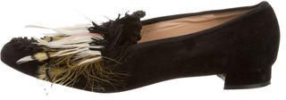 la boutine shoes - christian louboutin feather-accented suede loafers, sneakers fake