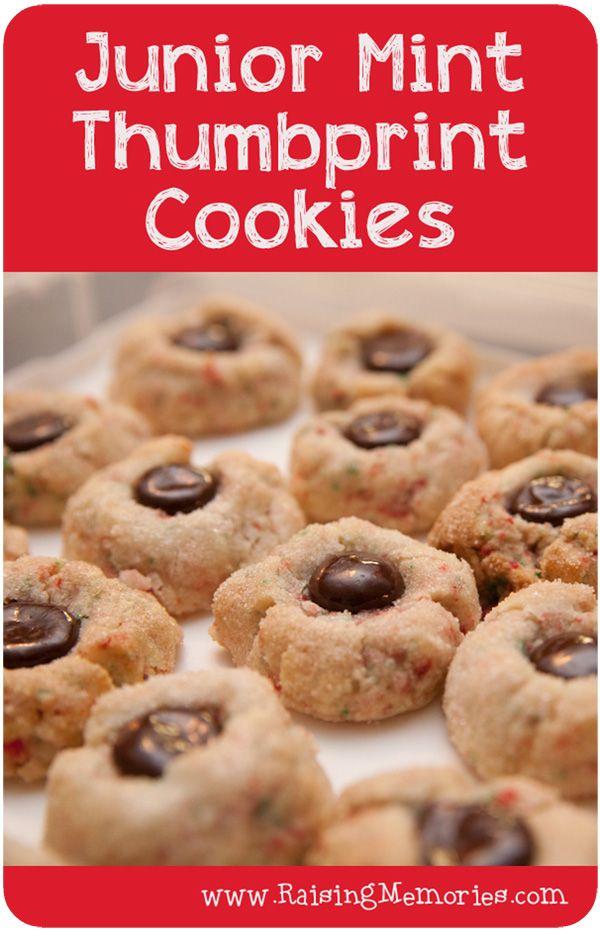 Junior Mint Candy Cane Thumbprint Cookie Recipe Tutorial (Christmas Baking with www.RaisingMemories.com)