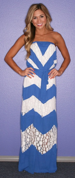 Chevron blue dress. I'm obsessed and yet don't own a single chevron item!