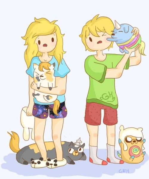 Adventure Time Fionna and Finn and Jake's puppy