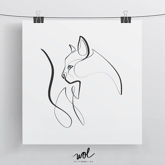 Cat Art, Cat Art Print, Cat Illustration, Cat Print, Cat Lover, Cat Wall Art, Cat Gift, Single Line, Cat Lover Gift, Cat Gifts, Cat Noir – Britta Kohl