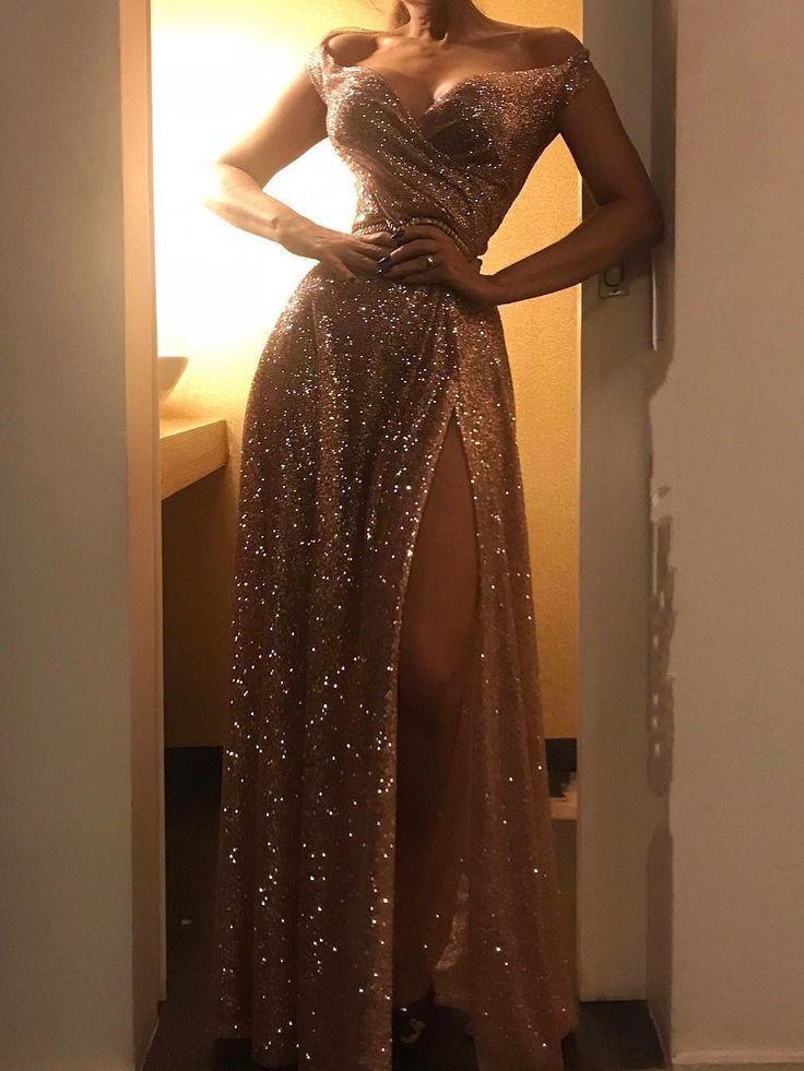 Gold Pailletten Schulterfrei Abendkleid – Dress …