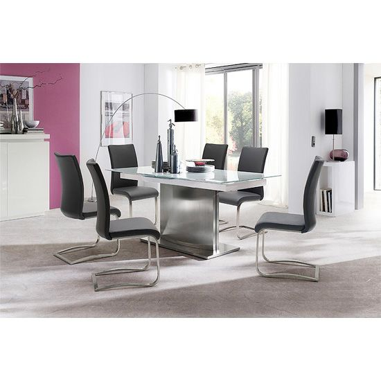 Memory 6 Seater White Dining Table Set With Arco Dining Chairs