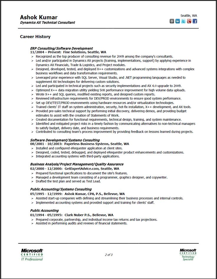 2 Page Resume Format Sample, 2 Page Resume Format Sample
