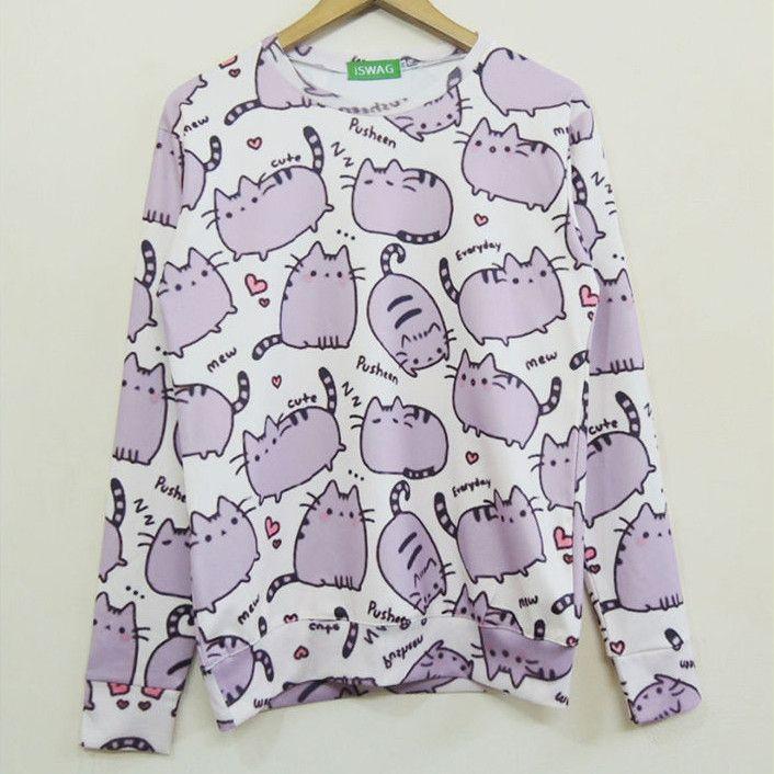 Women's Pusheen Printed Pullover Sweatshirt