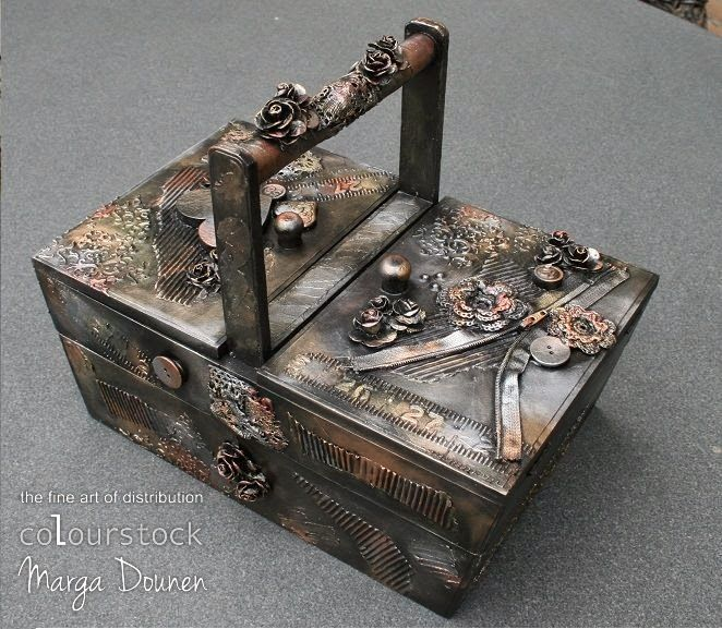 The Stamping Cottage - altered sewing box with black gesso and pan pastels, made by Marga