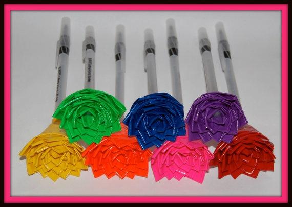 Duct tape flower on pen