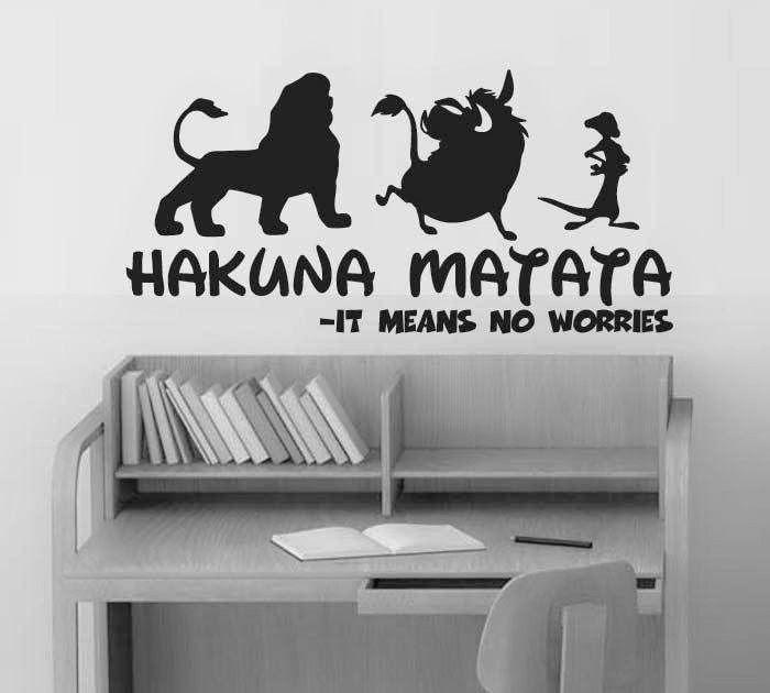 Hot HAKUNA MATATA Lion King Quote - Simba Timon Pumbaa Wall Stickers Home Decor