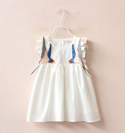 - 100% Cotton - Back Button Closure - Lightly Lined - Swallow Appliques