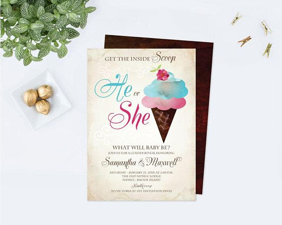 Gender Reveal Baby Shower or Bridal Shower Let/'s Chill Mint and Gray Ice Cream Invitation Digital Download Birthday Watercolor