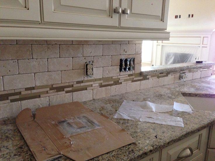 11 best backsplash images on pinterest kitchen ideas for Tumbled glass tile