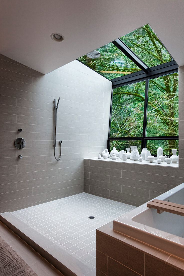 Contemporary bath and shower with an amazing view of the outdoors in this home located in Portland, Oregon. [900 × 1350]