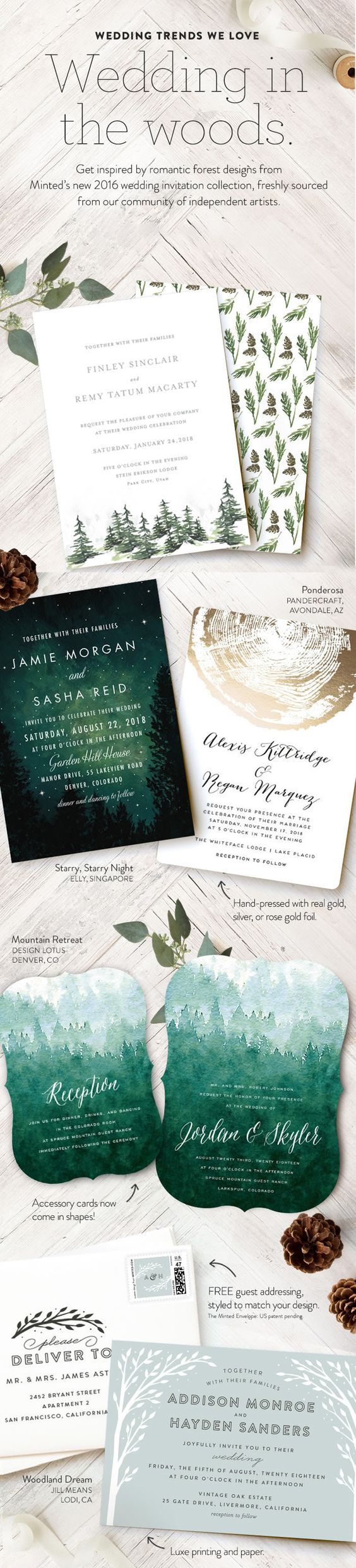 A Wedding In the Woods - Stationery that captures that woodland, camp-vibe. http://rstyle.me/n/buxrw7n2bn