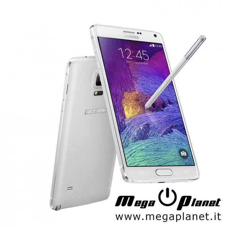 Samsung Galaxy Note 4 : Presenza del lettore di impronte digitali come già visto sui più recenti prodotti della linea Galaxy e la presenza di una cornice in alluminio a circondare il display.  Schermo: 5,7″ QHD (2.560 x 1.440 pixel) CPU: Qualcomm Snapdragon 805 quad-core 2,7 GHz GPU: Adreno 420 600 MHz RAM: 3 GB Fotocamera posteriore: 16 megapixel Fotocamera frontale: 3,7 megapixel Batteria: 3220 mAh Dimensioni: 153.5 x 78.6 x 8.5 mm Peso: 176g OS: Android 4.4.4