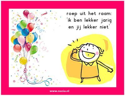 'verjaardagskaartjes' met leuke en grappige opdrachten voor de jarige!