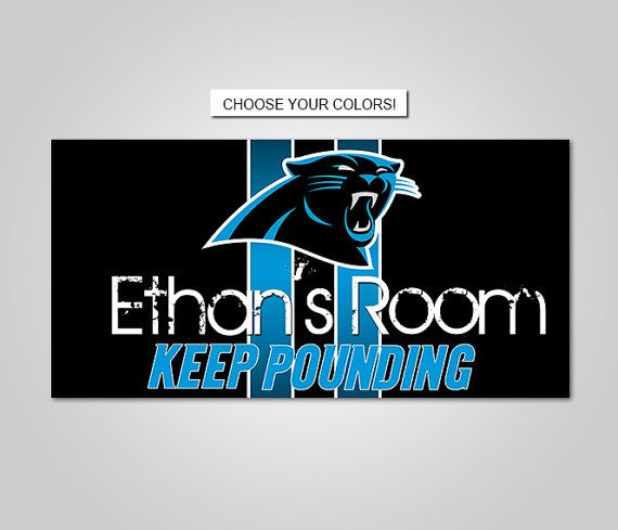 Carolina Panthers Football Team Kids Bedroom Nursery Name Print Door Sign