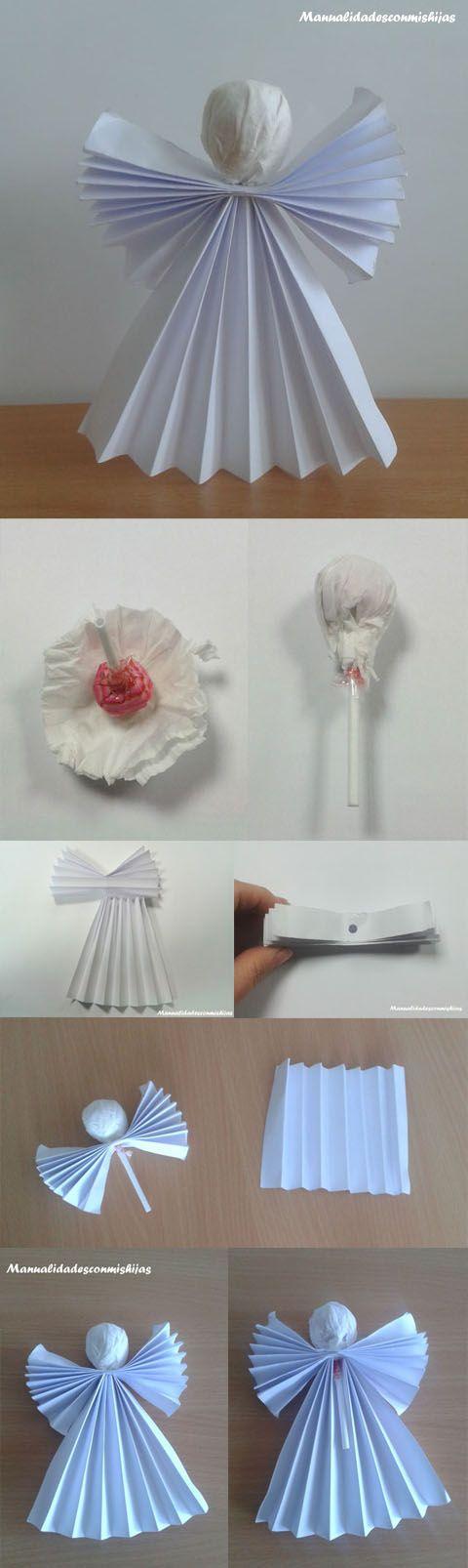 Ángel de navidad para niños con papel plegado y chupachups