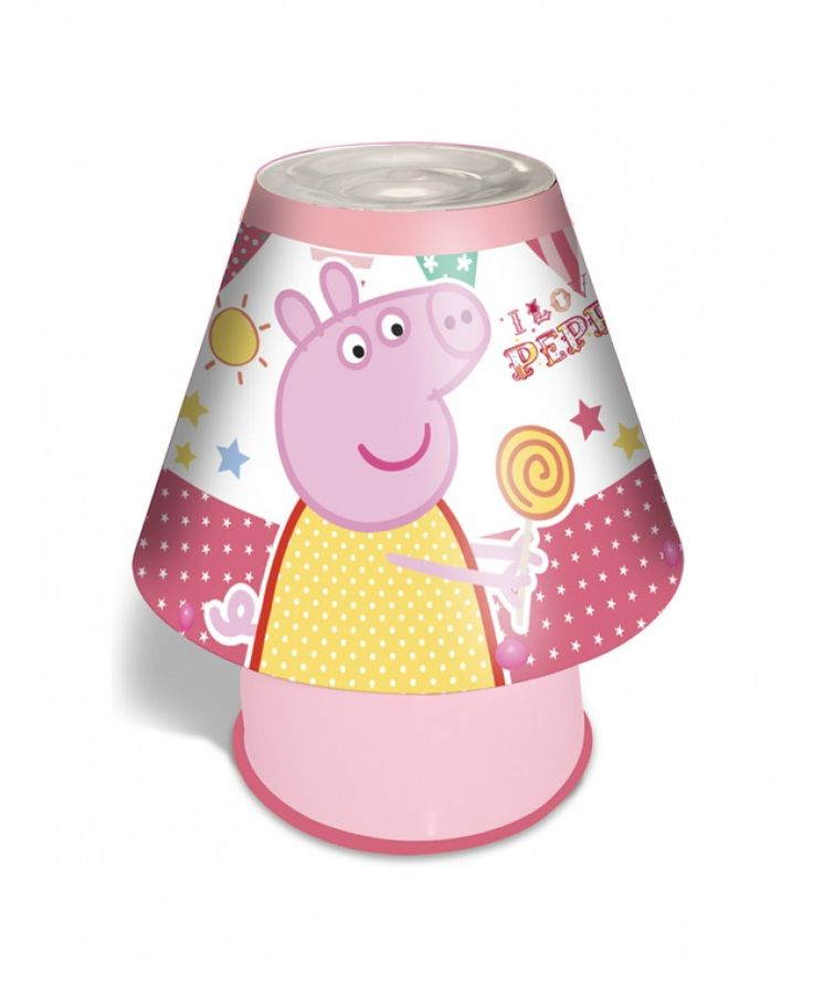Put the finishing touches to your Peppa Pig themed bedroom with this fantastic Kool Lamp! The lamp is very safe for little ones to use and stays cool to touch even when left on for hours. All the components of the lamp are fully enclosed to stop prying fingers from touching any of the internal parts. The lamp features Peppa and George having fun at the fair on a pretty pink and white background.