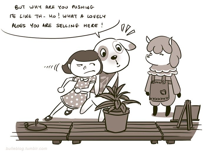 """Animal Crossing. The """"house sale"""" day annoys me. And I can't ever buy anything else. T_T So they call ME rude for not selling things..."""