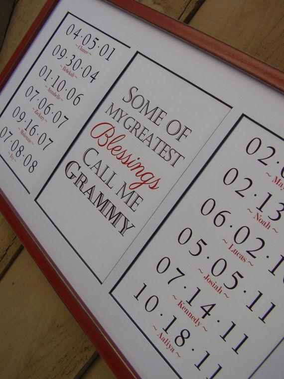Grandma Gift. Framed Grandchildren Birthdates by PoppyseedPrints,