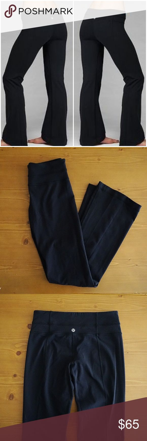Lululemon Groove Flare Yoga Pants Black Lululemon Groove Flare Yoga Pants Black Size 4. Authentic. Really comfortable. Worn a few times. No fading, rips, or Stains. No tags.  Length 37in Inseam 30in Rise 8in Waist flatlay 12.5in (but stretches)  Offers Welcome Ships 1-3 Days Bundle for a Discount lululemon athletica Pants