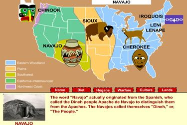 The MrNussbaum.com Native Americans section includes interactive maps, tribal profiles, biographies of famous Native Americans, interactive activities, and even an online Totem Pole Maker.