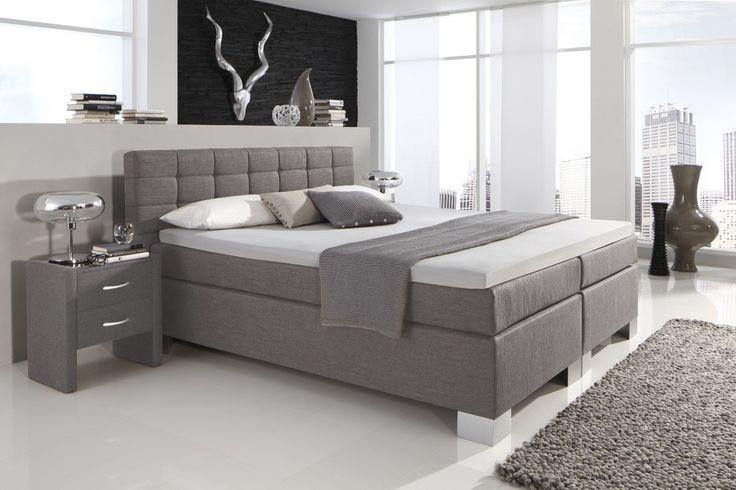 Dreams4Home Boxspringbett Manhattan KT2 grau, 100, 140, 160, 180, 200x200cm, verschiedene Ausführungen Möbel Betten