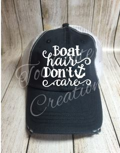Boat Hair Don't Care Trucker Hat / Custom by TooCuteCreations2007