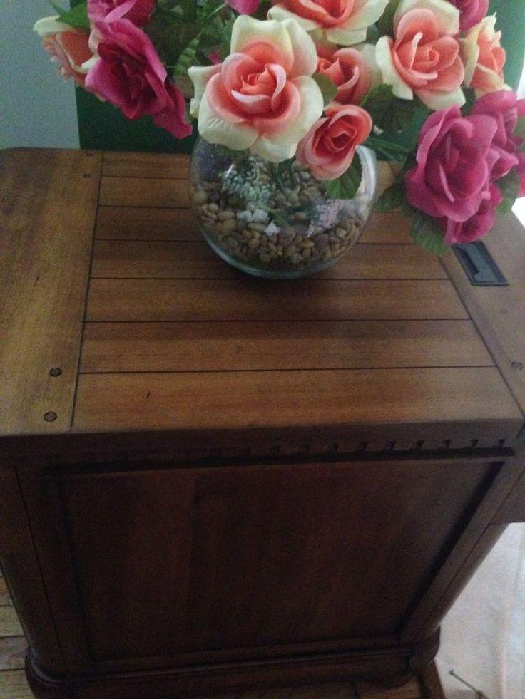 """2 Media End Table Ashley Furn.Med. Brown Wood Rustic Secret Elec. Outlet 30""""H…"""