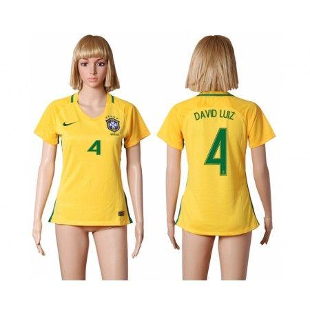 Brasilien Fotbollskläder Kvinnor 2016 #David Luiz 4 Hemmatröja Kortärmad,259,28KR,shirtshopservice@gmail.com