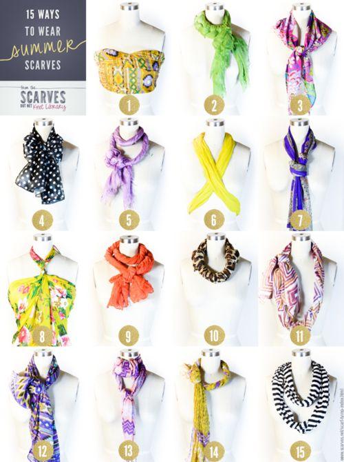 DIY Fifteen Ways to Wear Summer Scarves' Tutorial from scarves.net here.