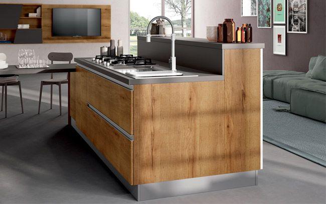Cucina Con Isola E Piano Snack.Cucina Moderna Con Isola E Piano Snack Composizione 0517