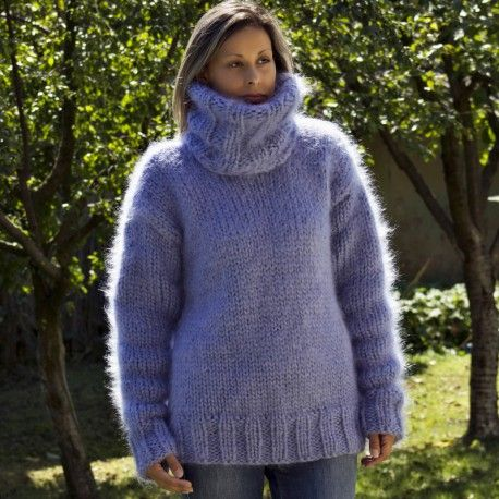 Hand Knit Mohair Sweater Light Lilac Fuzzy Turtleneck 7 strands Handgestrickte pullover by Extravagantza