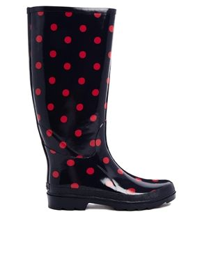 Image 1 of Cath Kidston Spot Red Navy Wellington Boots