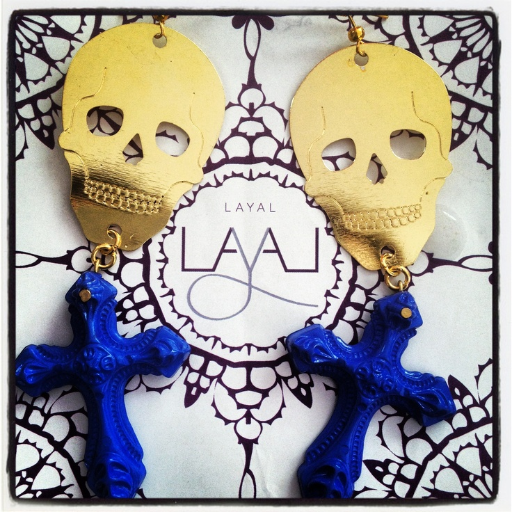 Skull cross earrings layal glyfada