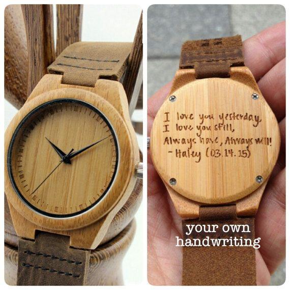 Engraved Mens Wooden Watch Personalized Handmade Wood by SFdizayn